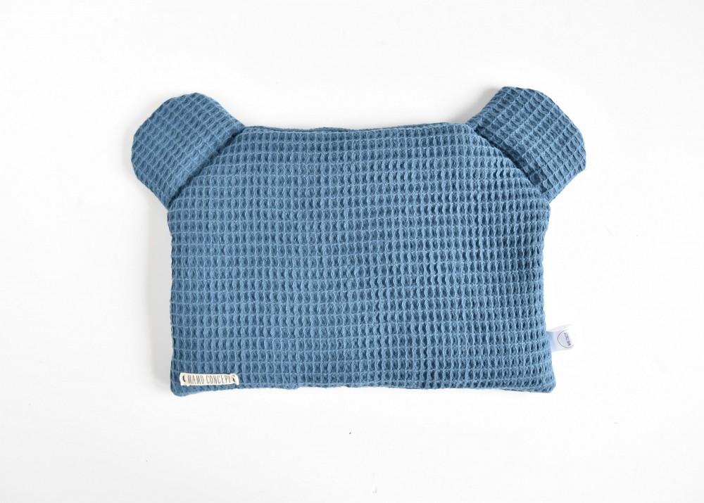 Płaska poduszka miś - granat