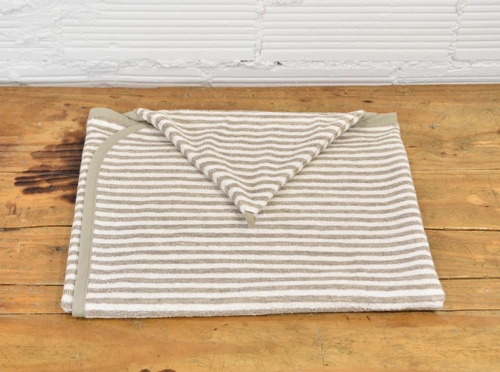Lniany ręcznik z kapturkiem - w paski