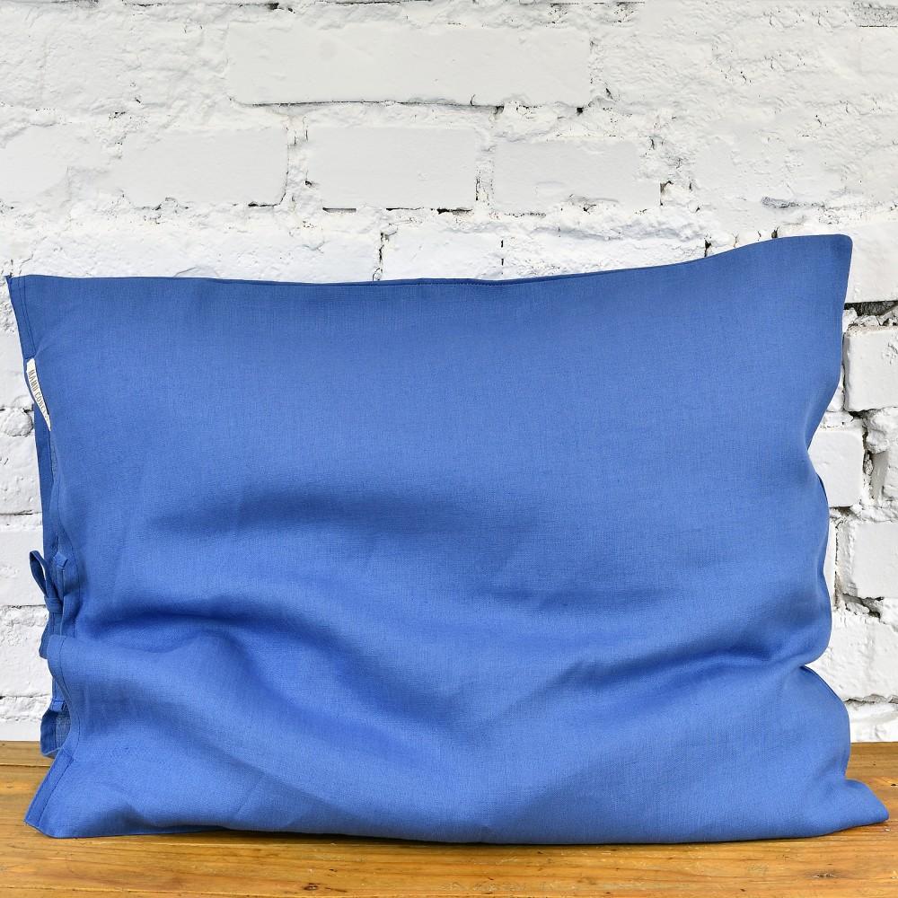 Lniana poszewka na poduszkę - kolonialny niebieski
