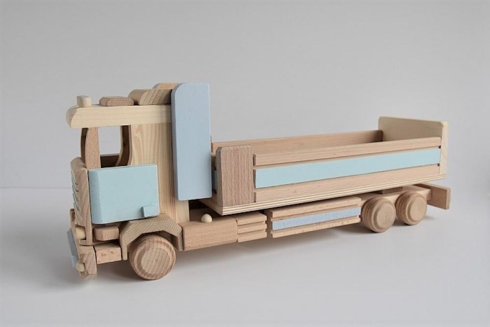 Drewniana MEGA ciężarówka z przyczepą