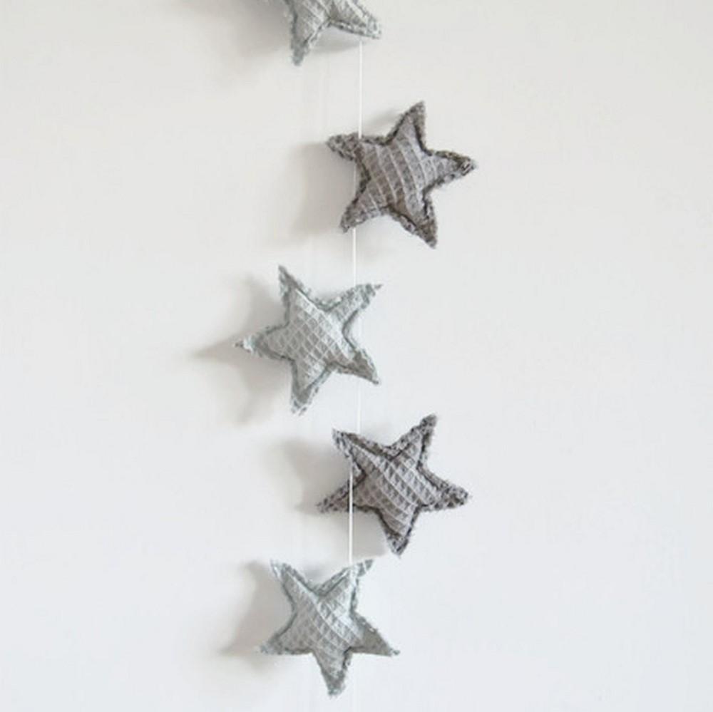 Girlanda gwiazdki - pistacjowy z szarym