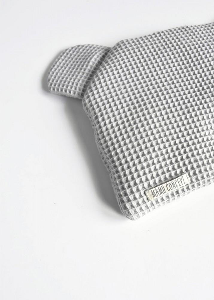 Płaska poduszka miś - jasny szary