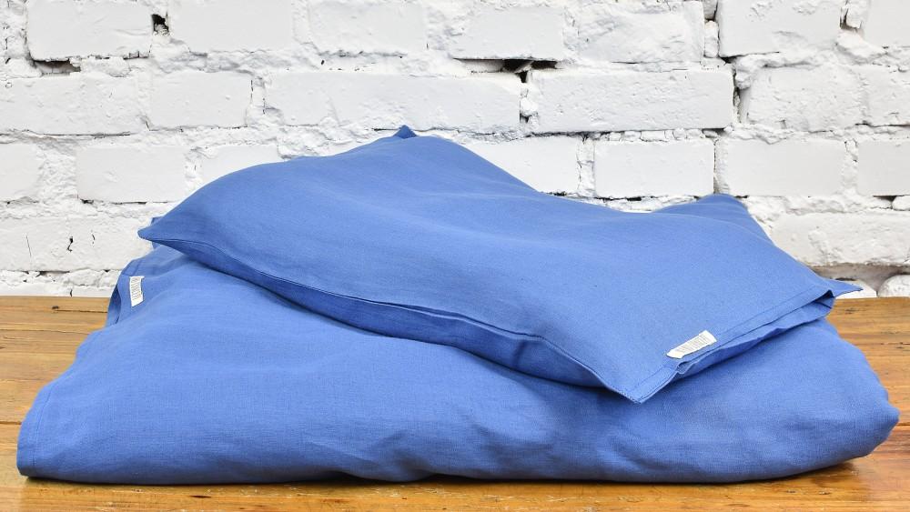 Lniana pościel malucha - kolonialny niebieski