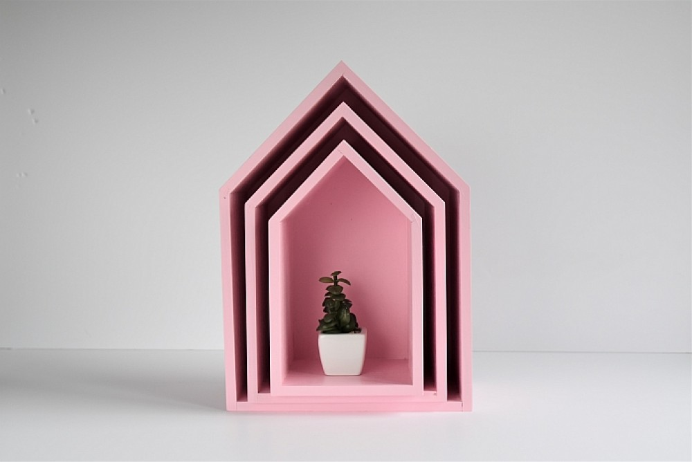 Półki domki - trio - różowy
