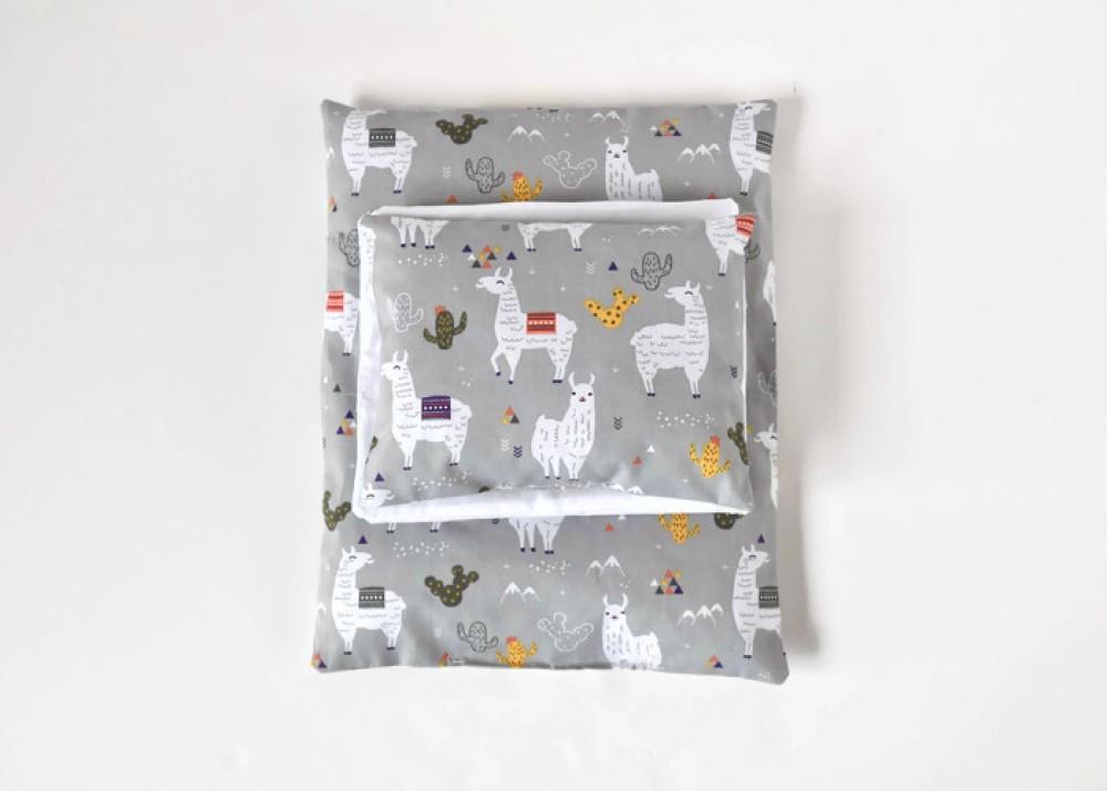 Zestaw pościeli do łóżeczka / kołyski dla lalek - szare lamy