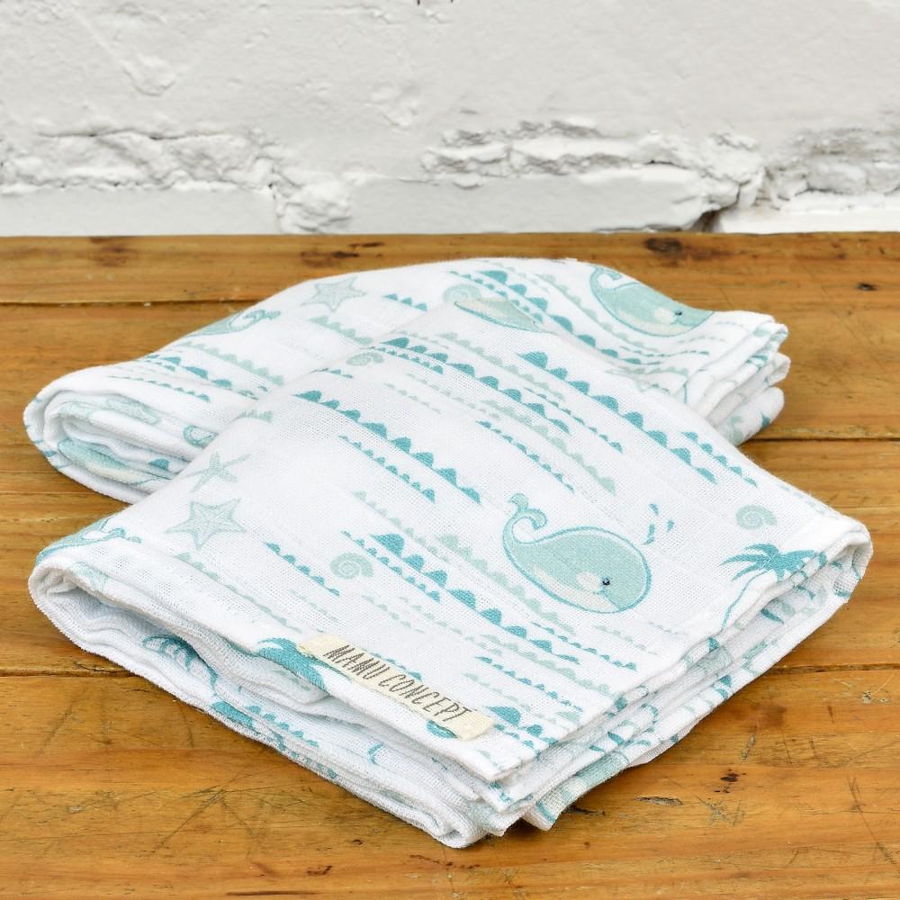 Pieluszki bawełniane - wieloryby - turkus