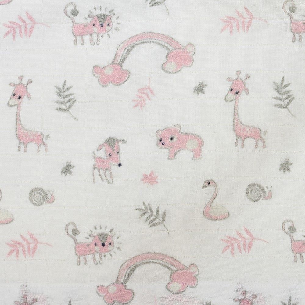 Pieluszki bawełniane - zwierzątka - róż