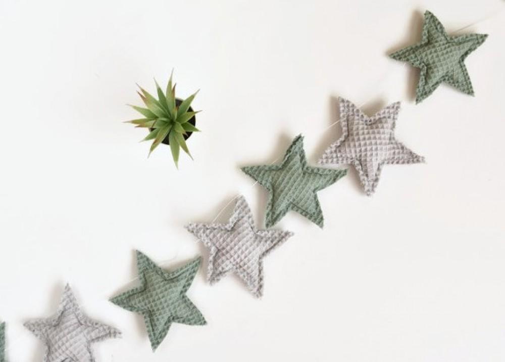 Girlanda gwiazdki - szałwia z szarym