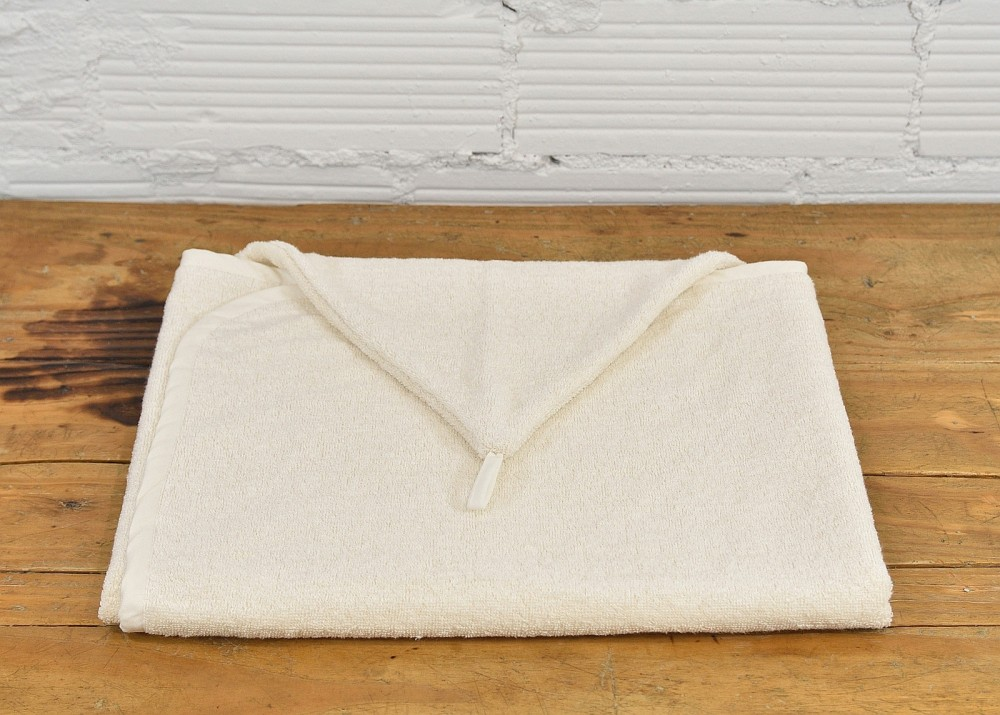 Lniany ręcznik z kapturkiem - kremowy