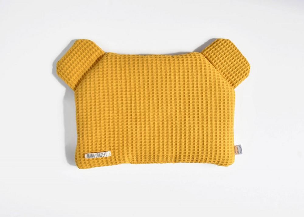 Płaska poduszka miś - musztardowy
