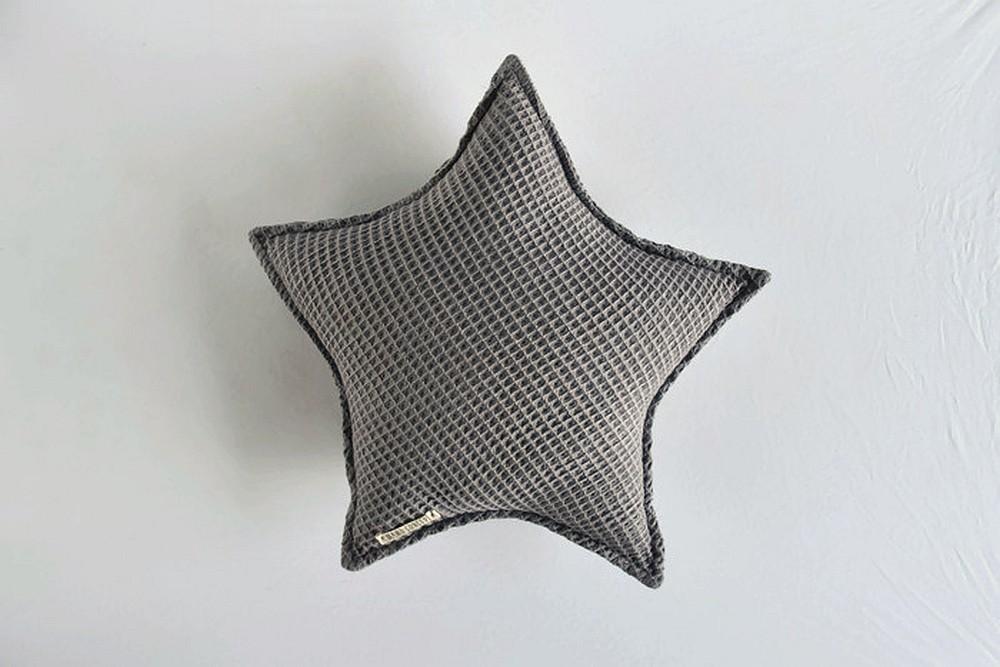 Poduszka gwiazdka - szary wafelek