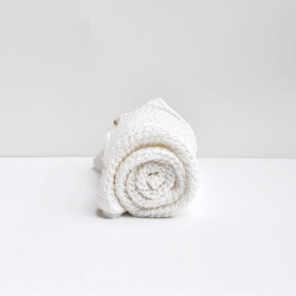 Wafelek lniany - kocyk - biały