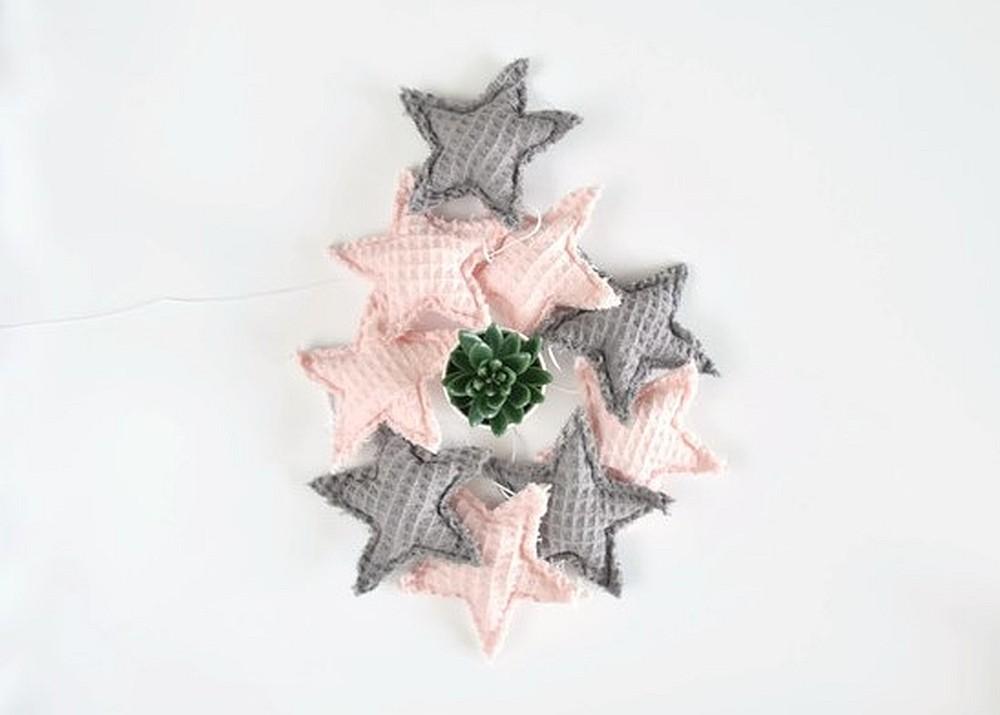 Girlanda gwiazdki - róż z szarym