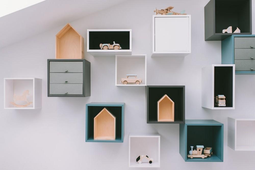Półki domki - trio - kolor naturalny