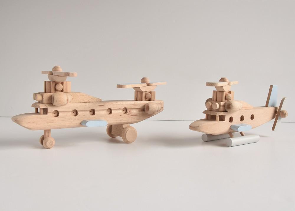 Drewniany helikopter - duży