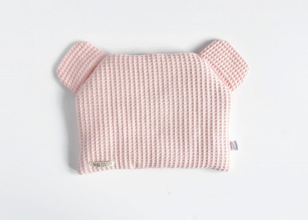 Płaska poduszka miś - blady róż