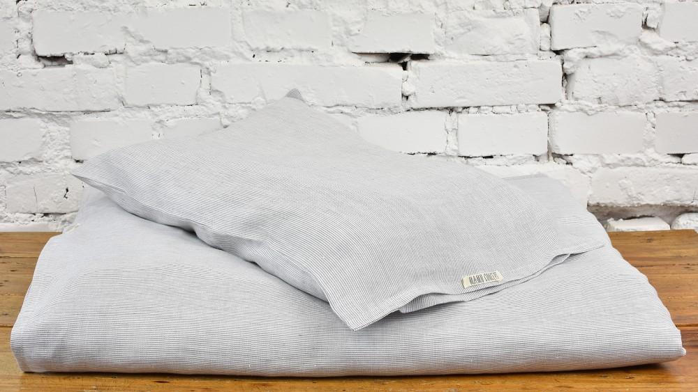 Lniana pościel malucha - biało-szare prążki