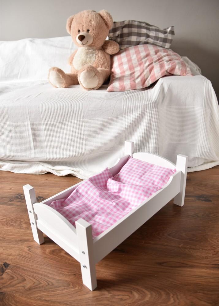 Zestaw pościeli do łóżeczka / kołyski dla lalek - różowa krateczka