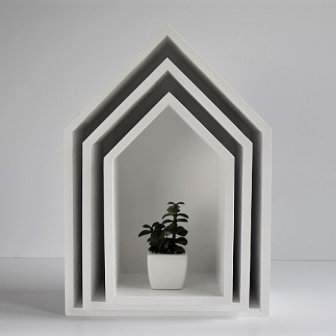 Półki domki - trio - biały