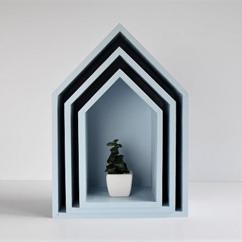 Półki domki - trio - jasny niebieski