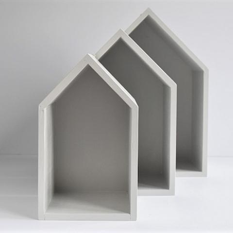 Półki domki - trio - jasny szary