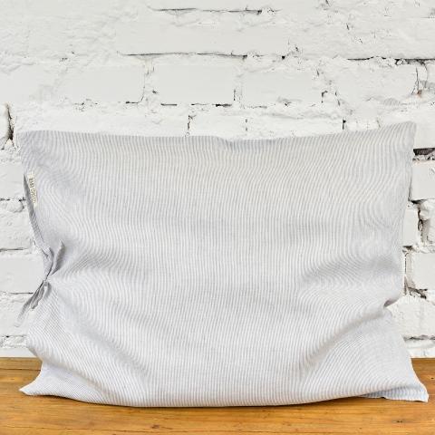 Lniana poszewka na poduszkę - biało-szare prążki
