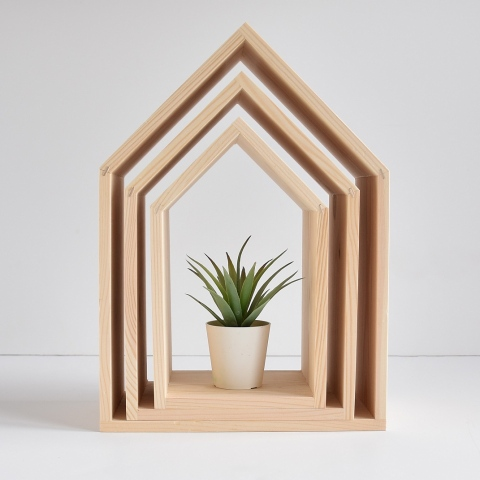 Półki domki bez plecków - kolor naturalny